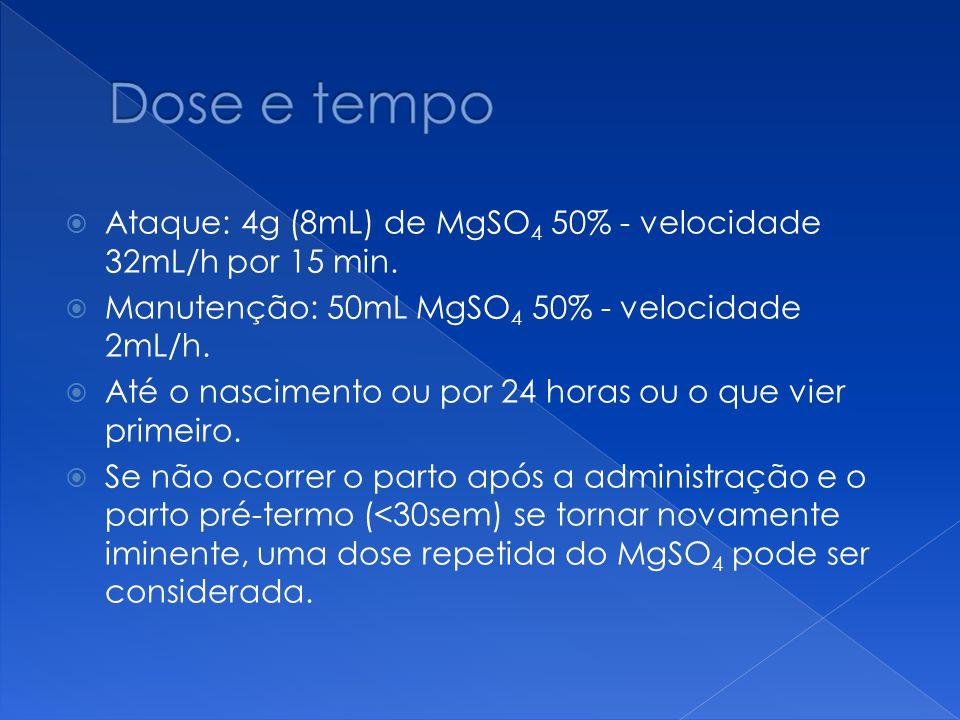 Ataque: 4g (8mL) de MgSO4 50% - velocidade 32mL/h por 15 min.