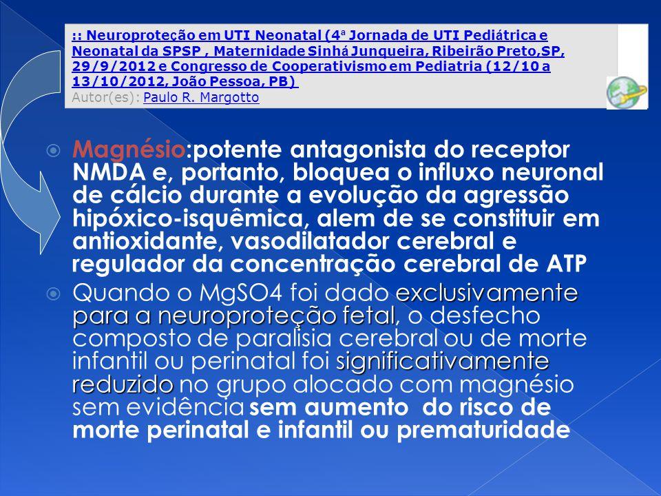 :: Neuroproteção em UTI Neonatal (4ª Jornada de UTI Pediátrica e Neonatal da SPSP , Maternidade Sinhá Junqueira, Ribeirão Preto,SP, 29/9/2012 e Congresso de Cooperativismo em Pediatria (12/10 a 13/10/2012, João Pessoa, PB) Autor(es): Paulo R. Margotto