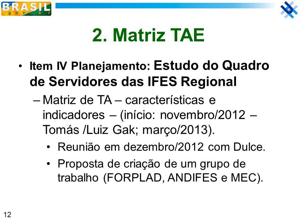2. Matriz TAE Item IV Planejamento: Estudo do Quadro de Servidores das IFES Regional.