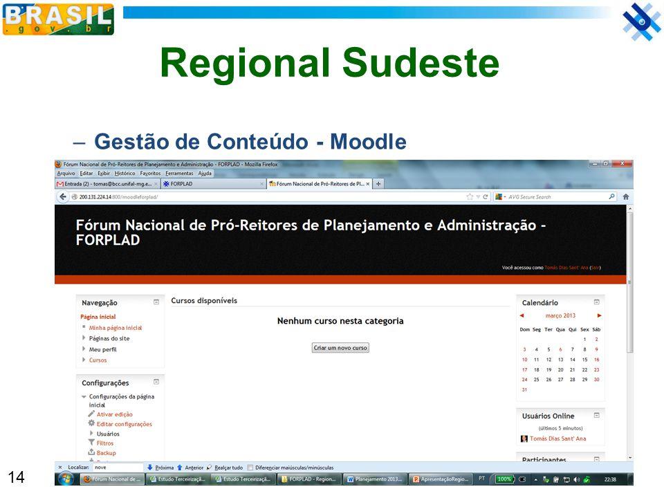Regional Sudeste Gestão de Conteúdo - Moodle