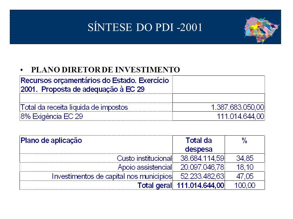 SÍNTESE DO PDI -2001 PLANO DIRETOR DE INVESTIMENTO