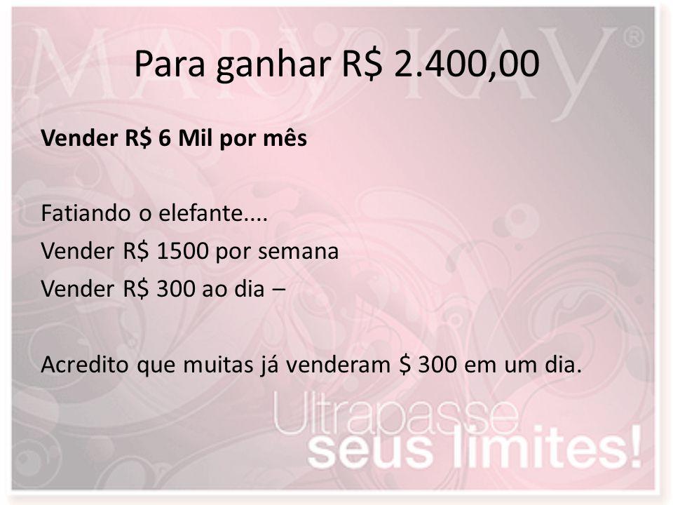 Para ganhar R$ 2.400,00 Vender R$ 6 Mil por mês