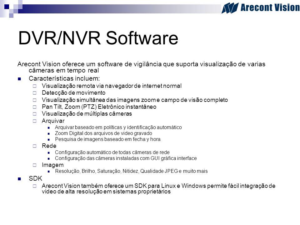 DVR/NVR Software Arecont Vision oferece um software de vigilância que suporta visualização de varias câmeras em tempo real.