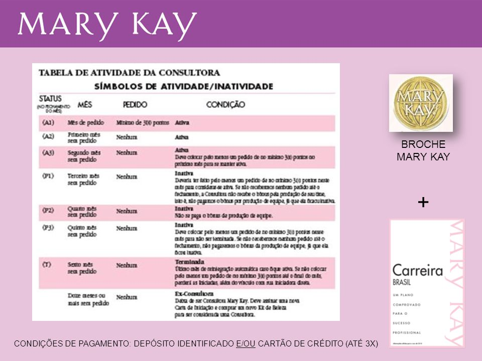BROCHE MARY KAY + CONDIÇÕES DE PAGAMENTO: DEPÓSITO IDENTIFICADO E/OU CARTÃO DE CRÉDITO (ATÉ 3X)