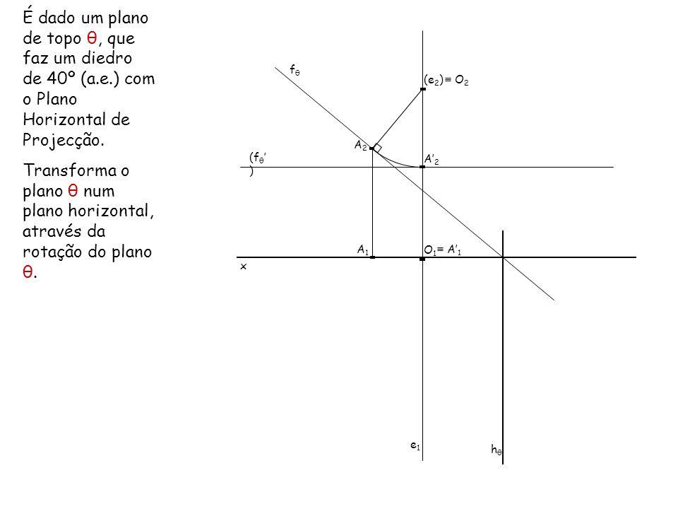 É dado um plano de topo θ, que faz um diedro de 40º (a. e