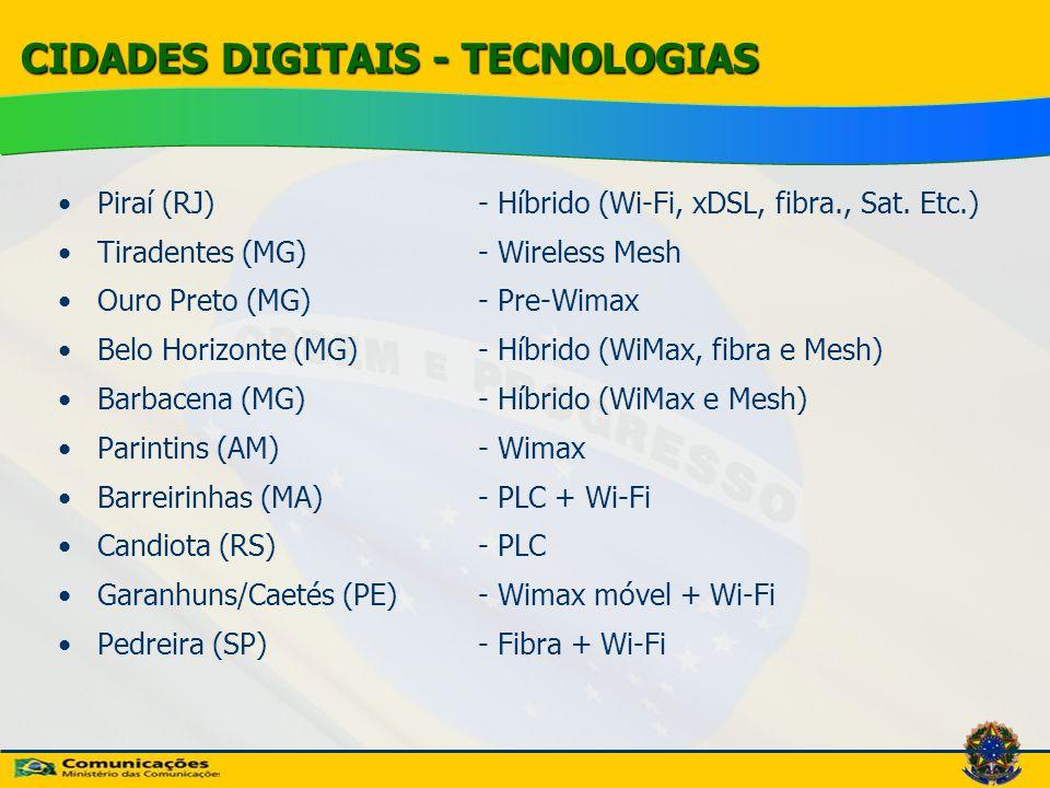 CIDADES DIGITAIS - TECNOLOGIAS
