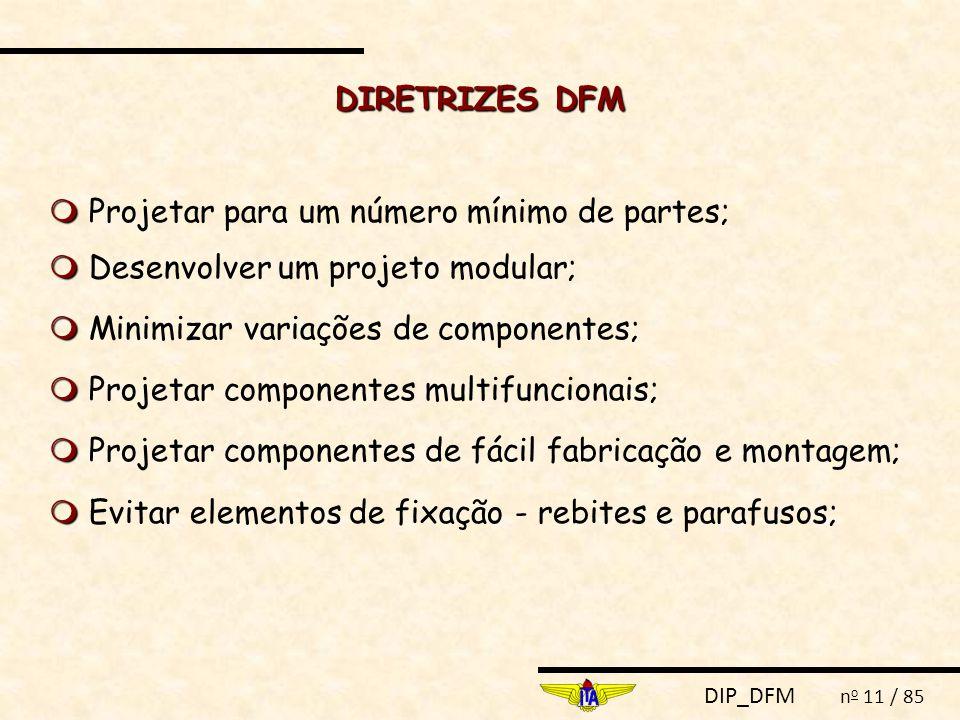 DIRETRIZES DFM  Projetar para um número mínimo de partes;  Desenvolver um projeto modular;  Minimizar variações de componentes;