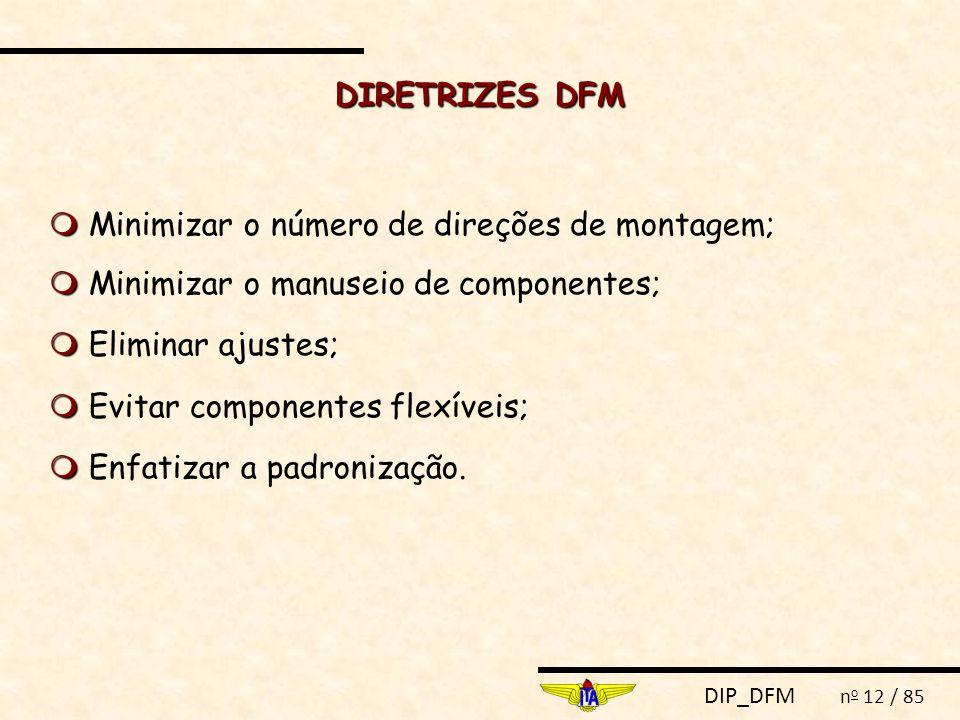 DIRETRIZES DFM  Minimizar o número de direções de montagem;  Minimizar o manuseio de componentes;