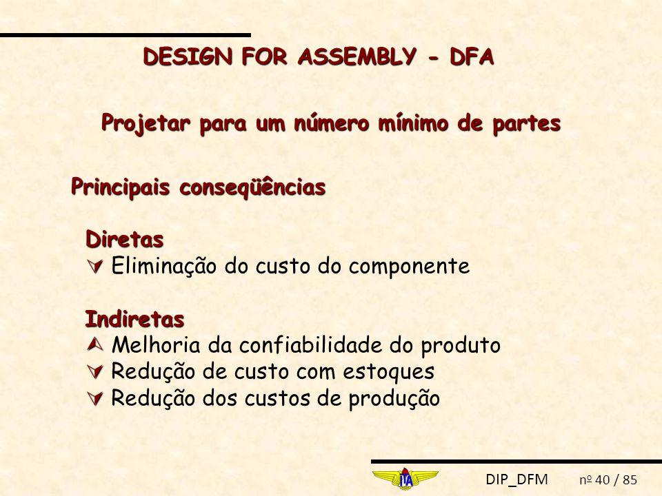 DESIGN FOR ASSEMBLY - DFA Projetar para um número mínimo de partes