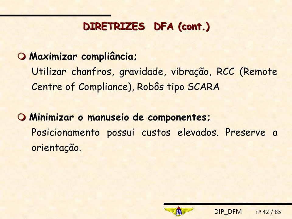 DIRETRIZES DFA (cont.)  Maximizar compliância; Utilizar chanfros, gravidade, vibração, RCC (Remote Centre of Compliance), Robôs tipo SCARA.