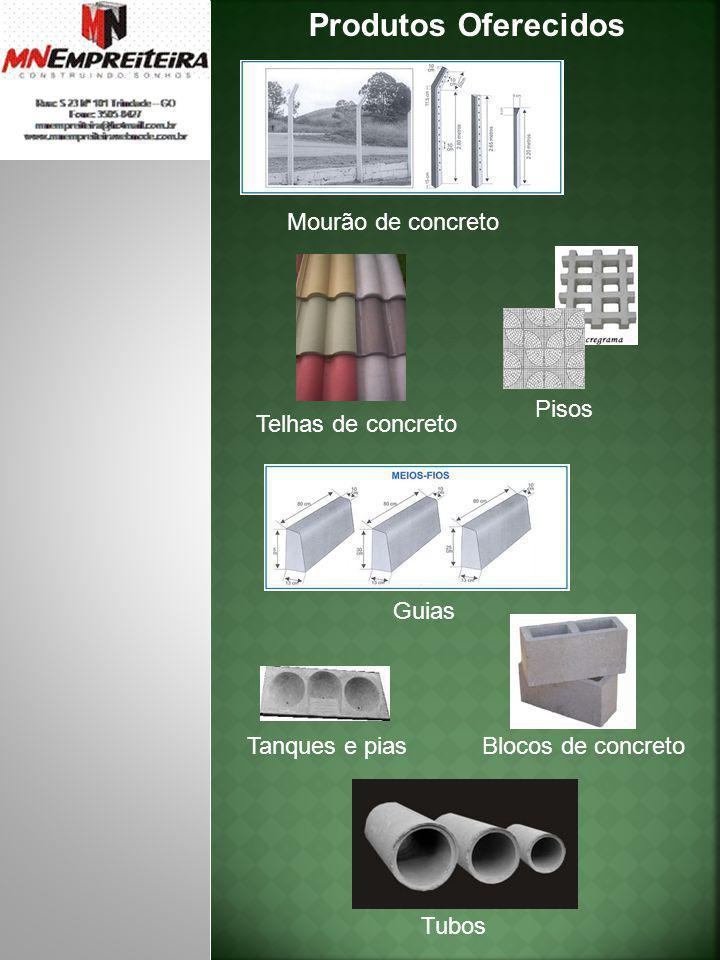 Produtos Oferecidos Mourão de concreto Pisos Telhas de concreto Guias