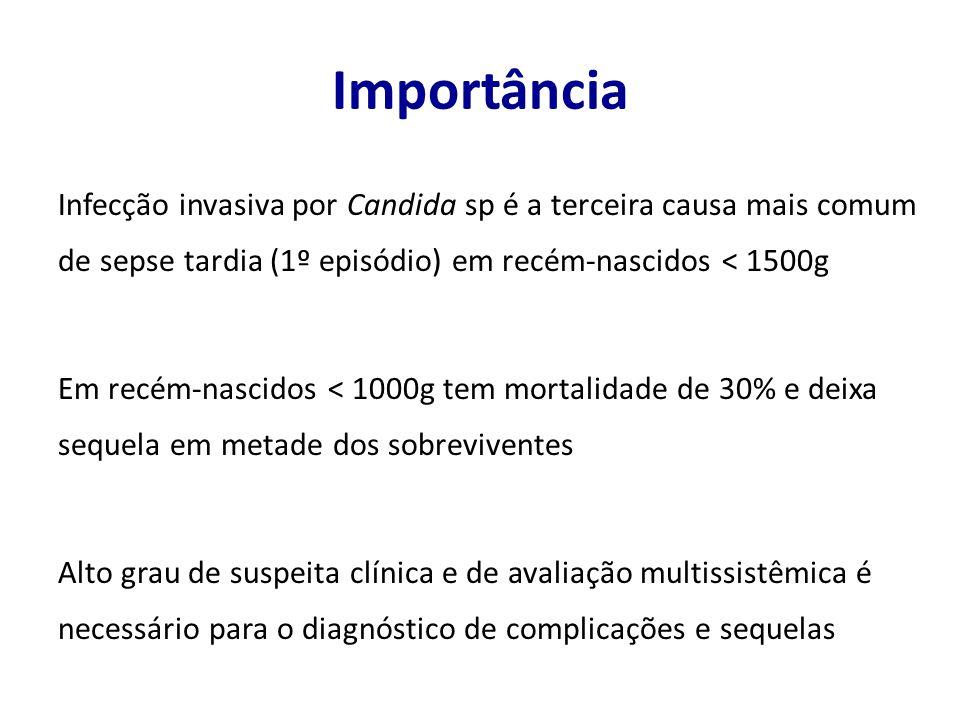 Importância Infecção invasiva por Candida sp é a terceira causa mais comum de sepse tardia (1º episódio) em recém-nascidos < 1500g.
