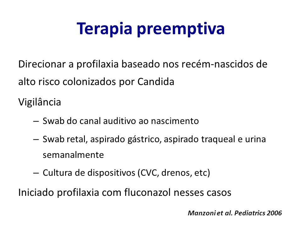 Terapia preemptiva Direcionar a profilaxia baseado nos recém-nascidos de alto risco colonizados por Candida.