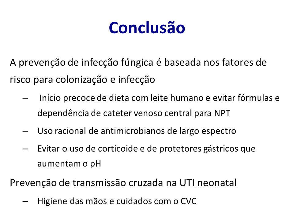Conclusão A prevenção de infecção fúngica é baseada nos fatores de risco para colonização e infecção.