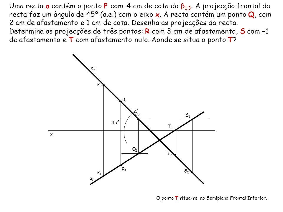 Uma recta a contém o ponto P com 4 cm de cota do β1,3