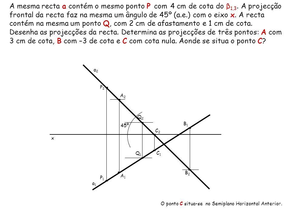 A mesma recta a contém o mesmo ponto P com 4 cm de cota do β1,3