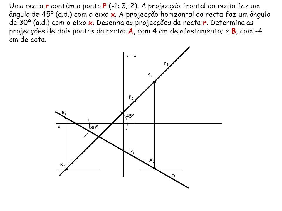 Uma recta r contém o ponto P (-1; 3; 2)
