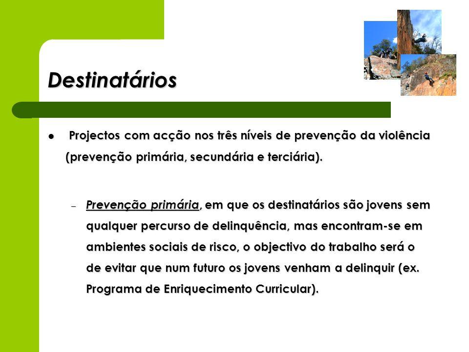 DestinatáriosProjectos com acção nos três níveis de prevenção da violência (prevenção primária, secundária e terciária).