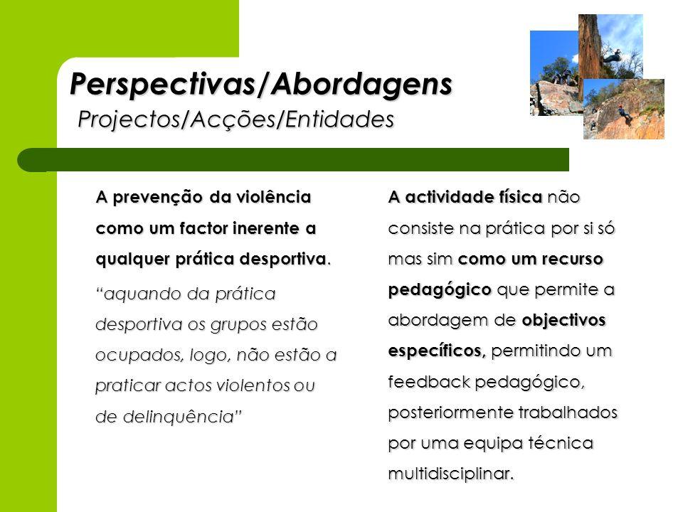 Perspectivas/Abordagens Projectos/Acções/Entidades