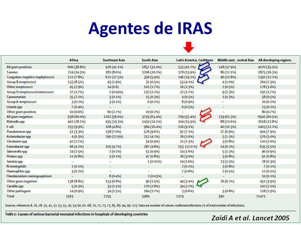 Agentes de IRAS Zaidi A et al. Lancet 2005
