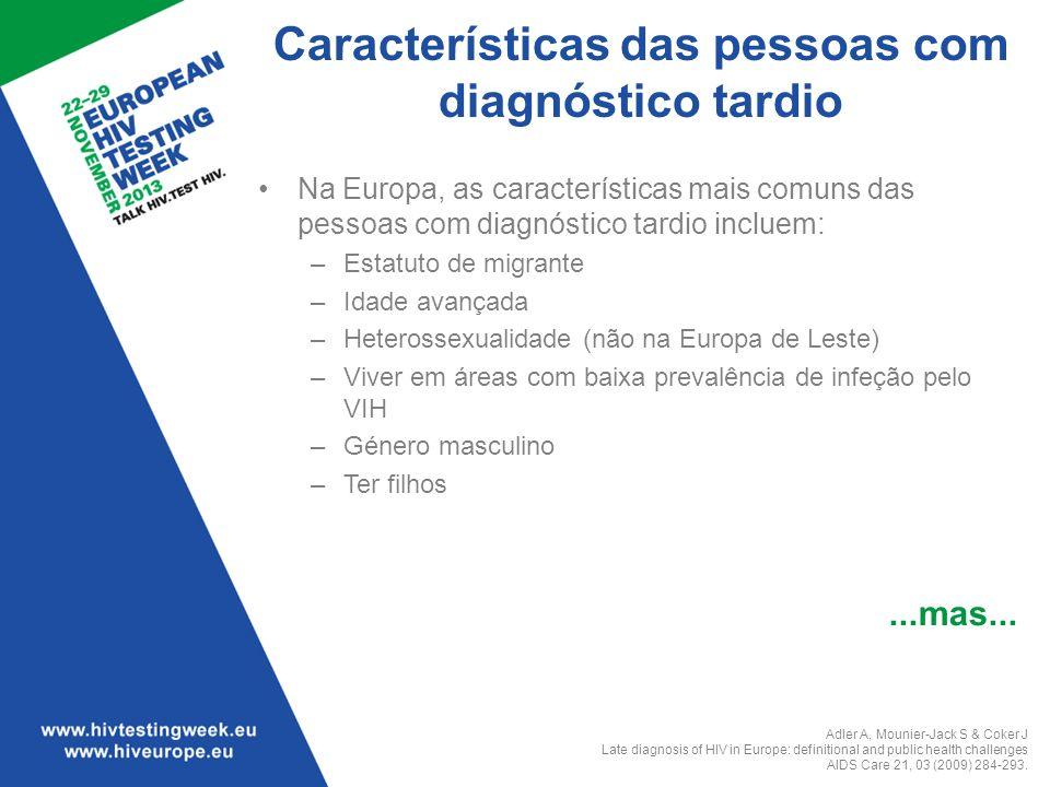 Características das pessoas com diagnóstico tardio