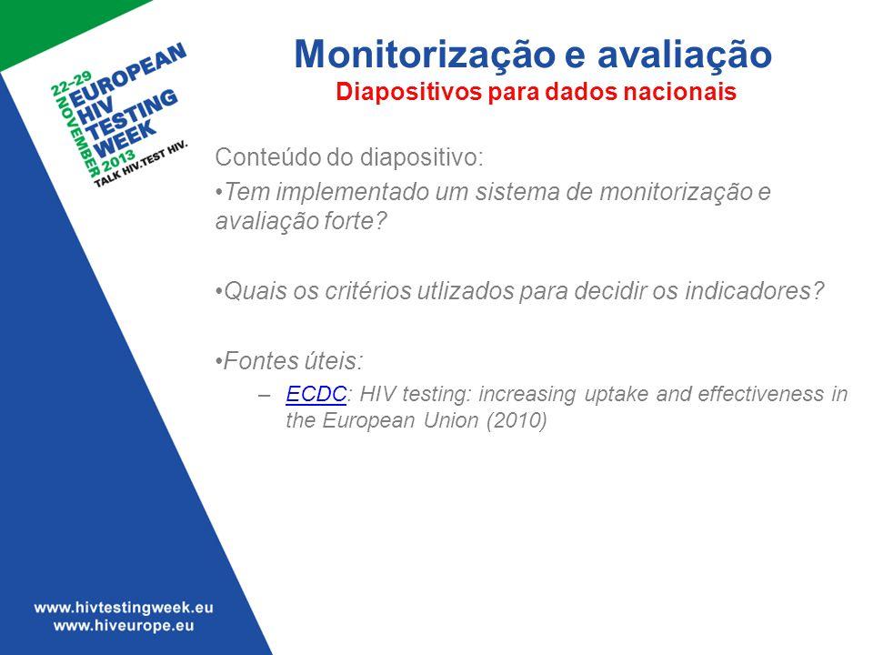 Monitorização e avaliação Diapositivos para dados nacionais