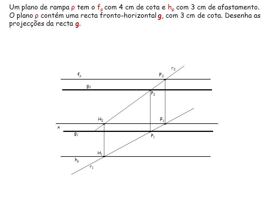 Um plano de rampa ρ tem o fρ com 4 cm de cota e hρ com 3 cm de afastamento. O plano ρ contém uma recta fronto-horizontal g, com 3 cm de cota. Desenha as projecções da recta g.