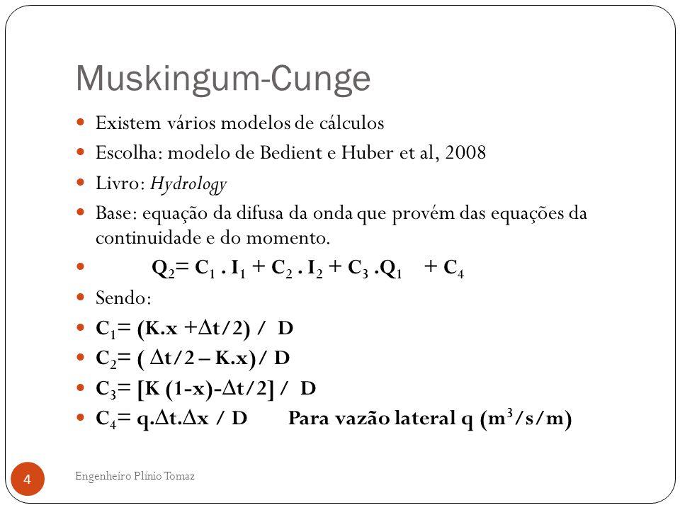 Muskingum-Cunge Existem vários modelos de cálculos