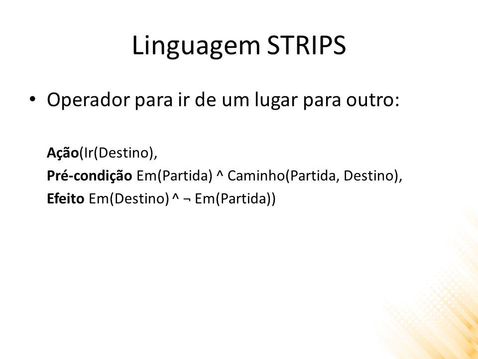 Linguagem STRIPS Operador para ir de um lugar para outro: