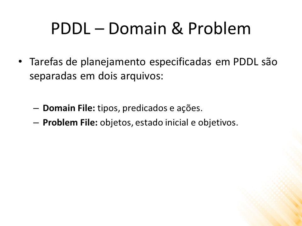 PDDL – Domain & Problem Tarefas de planejamento especificadas em PDDL são separadas em dois arquivos: