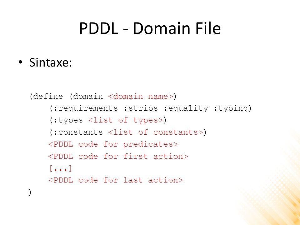 PDDL - Domain File Sintaxe: (define (domain <domain name>)