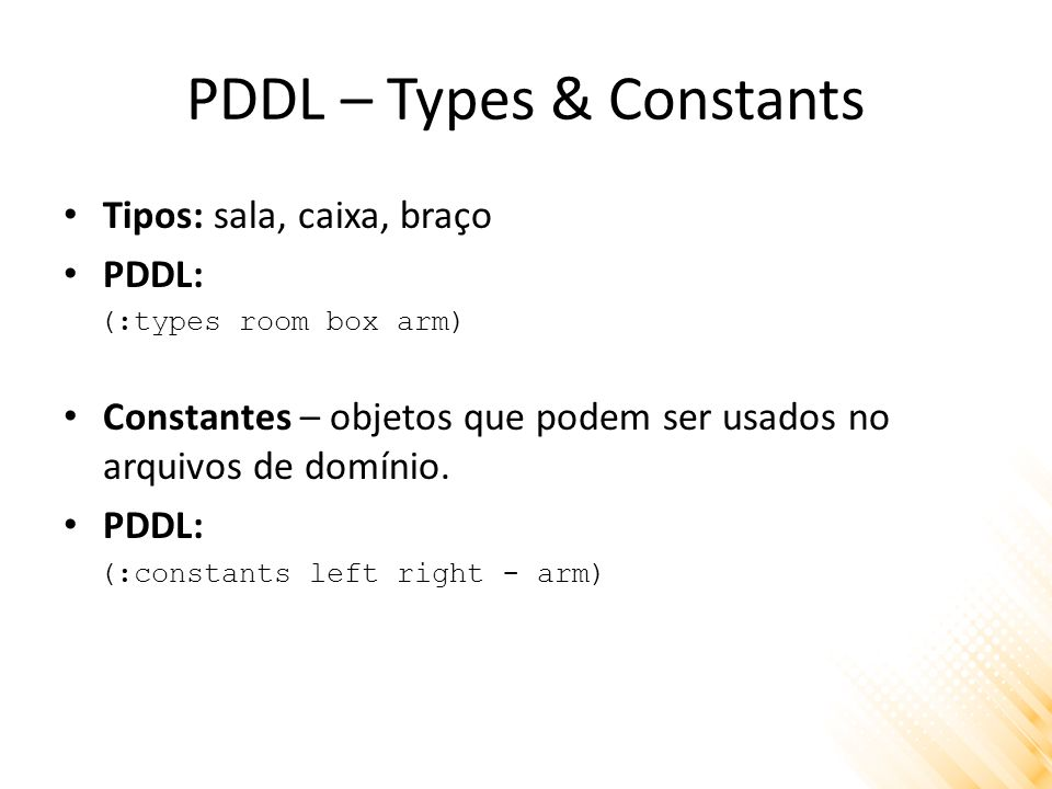 PDDL – Types & Constants