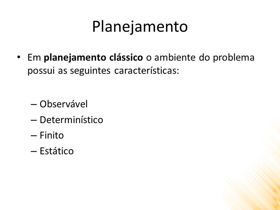 Planejamento Em planejamento clássico o ambiente do problema possui as seguintes características: Observável.