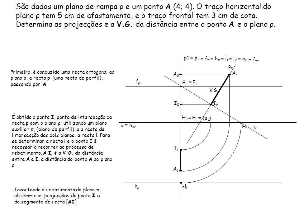 São dados um plano de rampa ρ e um ponto A (4; 4)