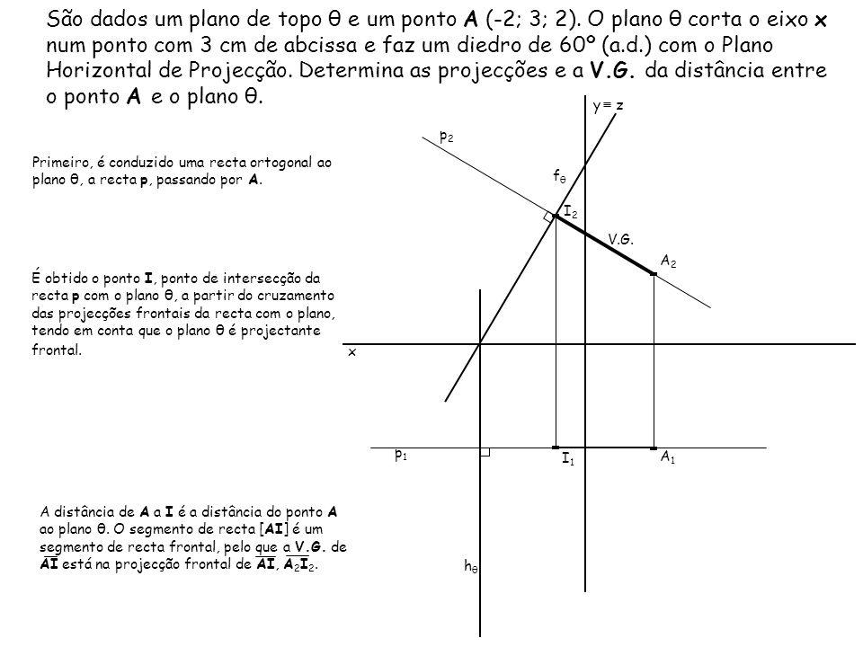 São dados um plano de topo θ e um ponto A (-2; 3; 2)