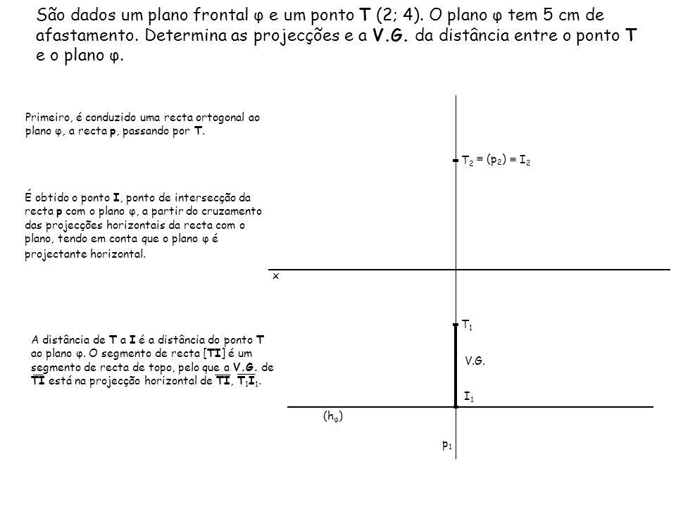 São dados um plano frontal φ e um ponto T (2; 4)