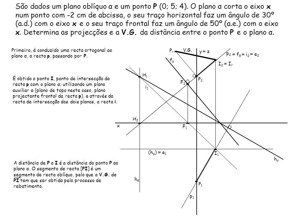 São dados um plano oblíquo α e um ponto P (0; 5; 4)