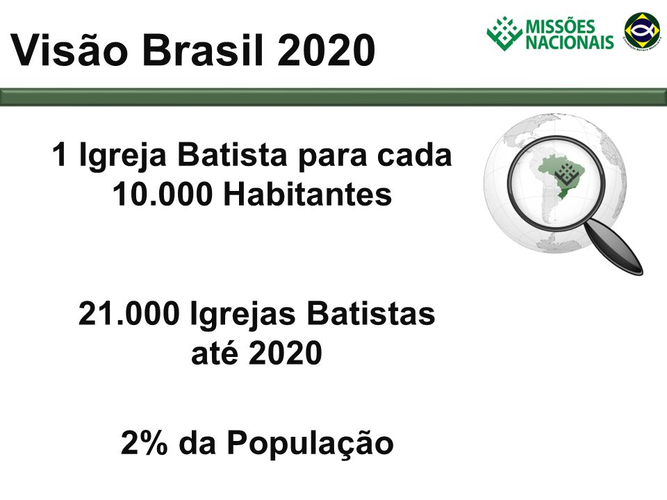 1 Igreja Batista para cada 10.000 Habitantes
