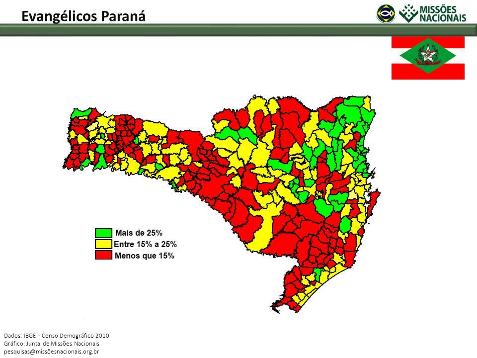 Evangélicos Paraná Dados: IBGE - Censo Demográfico 2010