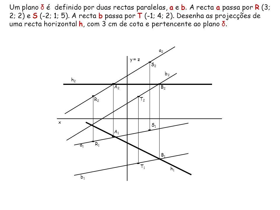 Um plano δ é definido por duas rectas paralelas, a e b