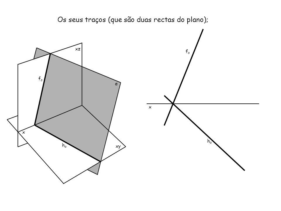 Os seus traços (que são duas rectas do plano);