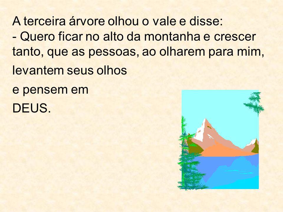 A terceira árvore olhou o vale e disse: - Quero ficar no alto da montanha e crescer tanto, que as pessoas, ao olharem para mim,