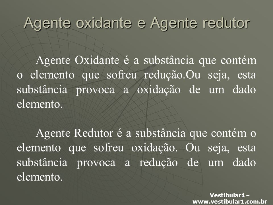 Agente oxidante e Agente redutor