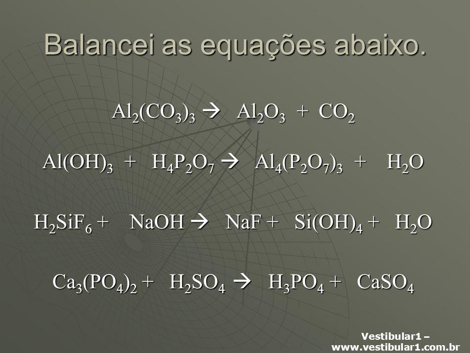Balancei as equações abaixo.