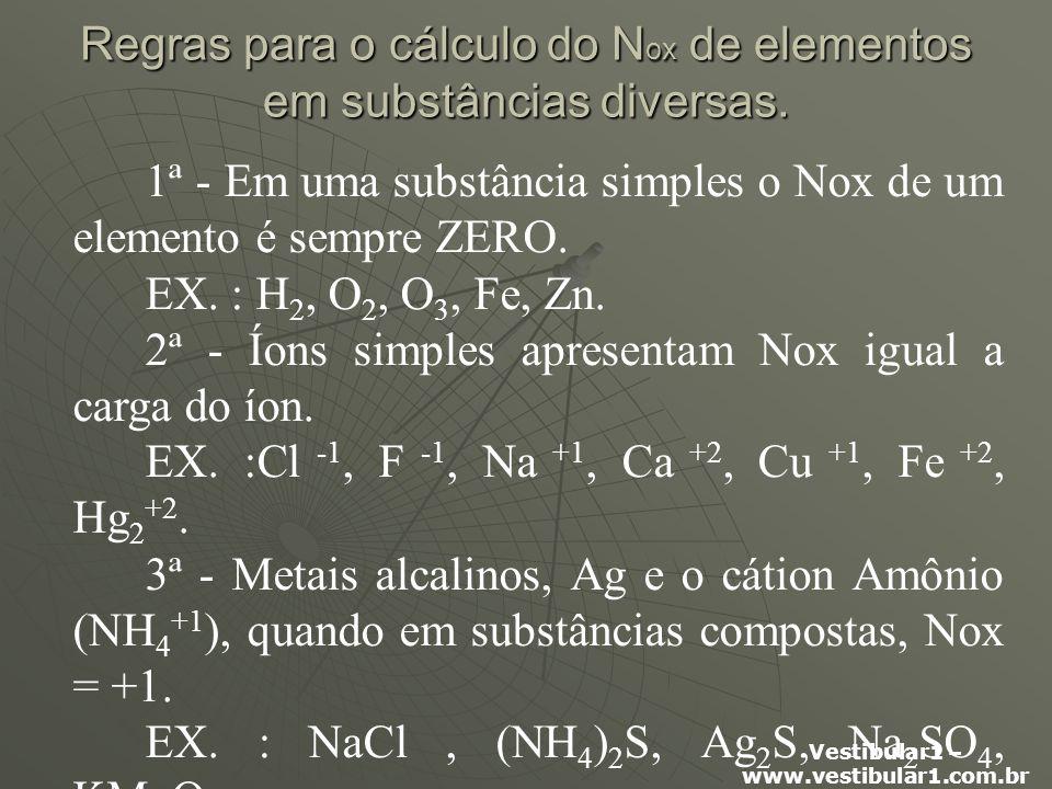Regras para o cálculo do Nox de elementos em substâncias diversas.