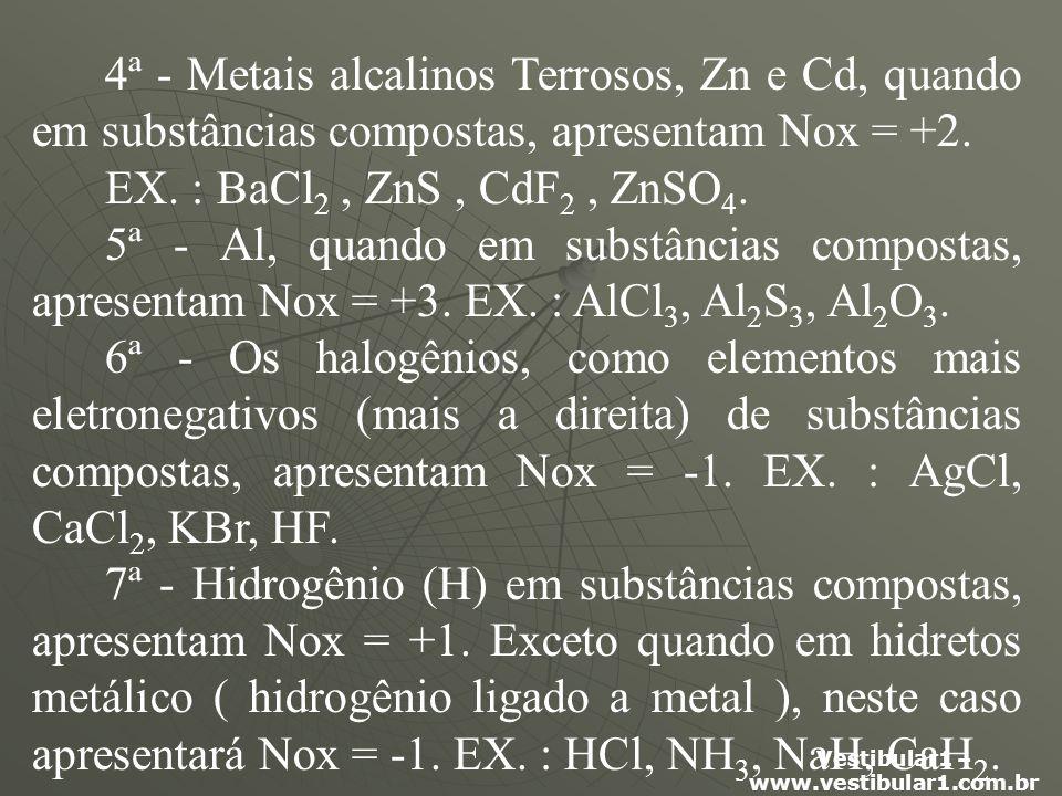 4ª - Metais alcalinos Terrosos, Zn e Cd, quando em substâncias compostas, apresentam Nox = +2.