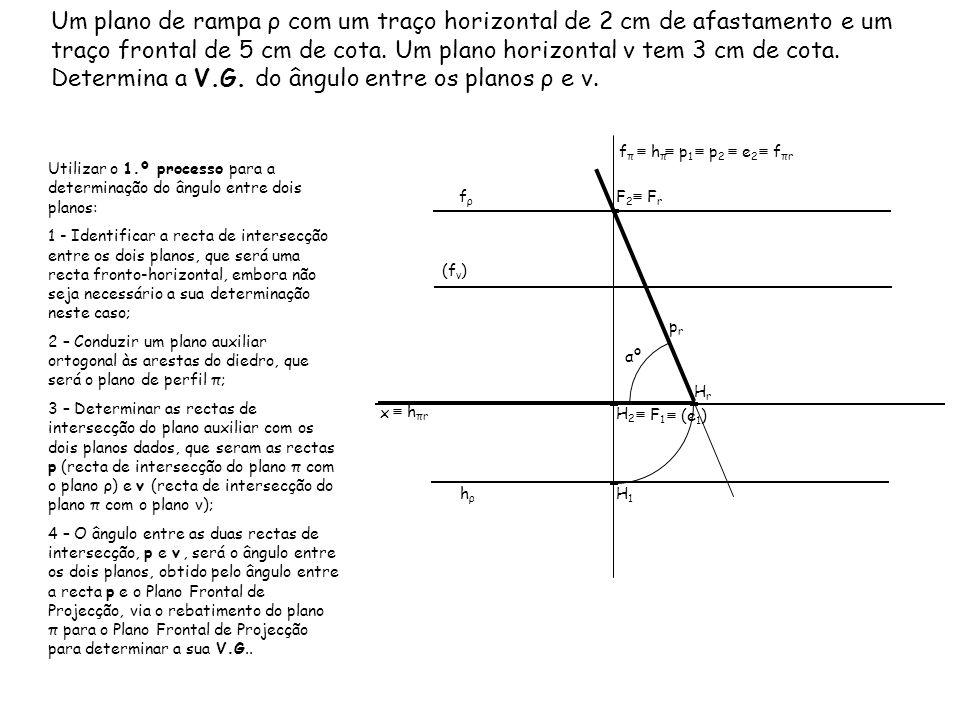 Um plano de rampa ρ com um traço horizontal de 2 cm de afastamento e um traço frontal de 5 cm de cota. Um plano horizontal ν tem 3 cm de cota. Determina a V.G. do ângulo entre os planos ρ e ν.