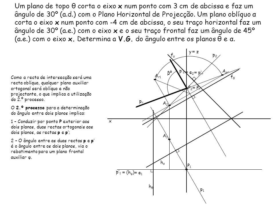 Um plano de topo θ corta o eixo x num ponto com 3 cm de abcissa e faz um ângulo de 30º (a.d.) com o Plano Horizontal de Projecção. Um plano oblíquo α corta o eixo x num ponto com -4 cm de abcissa, o seu traço horizontal faz um ângulo de 30º (a.e.) com o eixo x e o seu traço frontal faz um ângulo de 45º (a.e.) com o eixo x. Determina a V.G. do ângulo entre os planos θ e α.