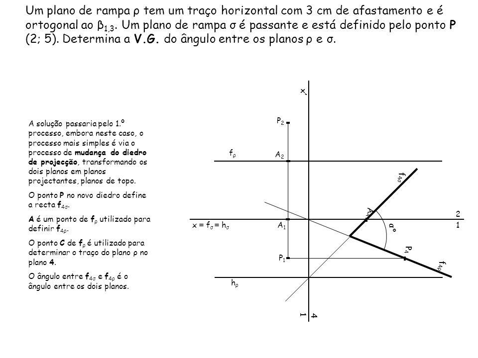 Um plano de rampa ρ tem um traço horizontal com 3 cm de afastamento e é ortogonal ao β1,3. Um plano de rampa σ é passante e está definido pelo ponto P (2; 5). Determina a V.G. do ângulo entre os planos ρ e σ.