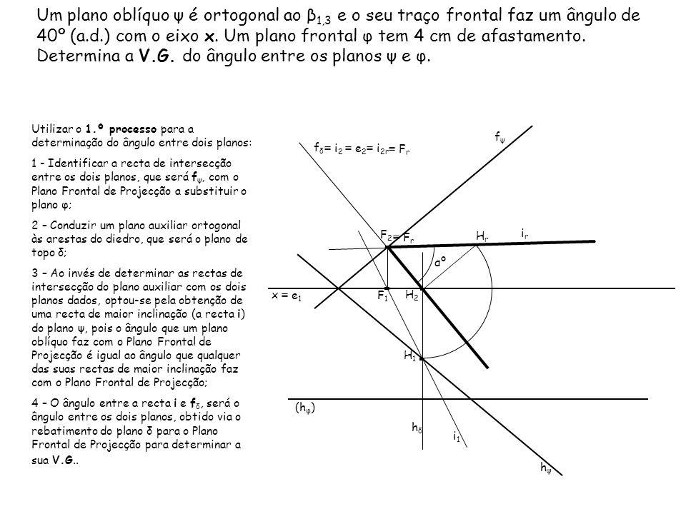 Um plano oblíquo ψ é ortogonal ao β1,3 e o seu traço frontal faz um ângulo de 40º (a.d.) com o eixo x. Um plano frontal φ tem 4 cm de afastamento. Determina a V.G. do ângulo entre os planos ψ e φ.